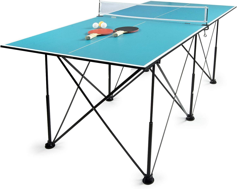 Leomark Compact Table Tennis Mesa de Ping-Pong Plegable Exterior Portatil fácil Montaje y Transporte Pelotas y Raquetas, Niños portátil, para Uso en Interiores, para Adulto y niños en Color Azul