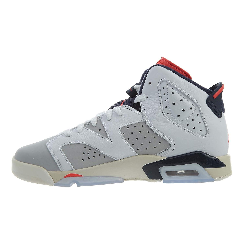 455f4181715 Amazon.com | Jordan Kids' Nike Air 6 Retro Bg White/Mango/Green 384665-114  | Basketball