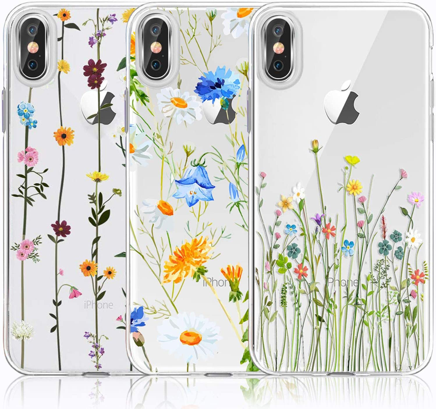 iPhone Xs Max Case, iPhone Xs Max Case with Flowers, [3-Pack] CarterLily Watercolor Flowers Floral Pattern Soft Clear Flexible TPU Back Case for iPhone Xs Max 6.5 Inch (Cute Wildflower)