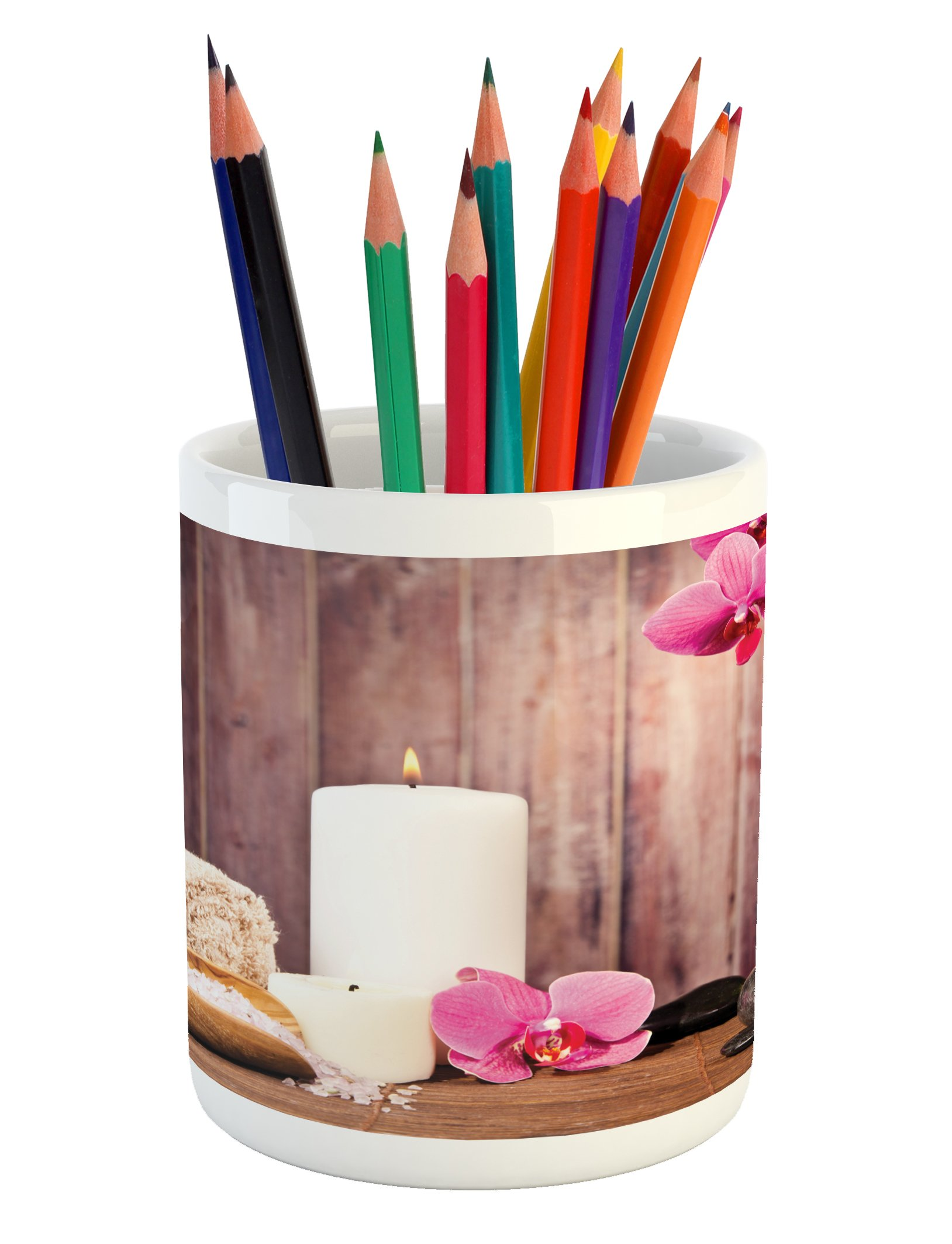 Lunarable Spa Pencil Pen Holder, Spa Candlelight Plants Wooden Wall Sea Salt Treatment Freshness Relaxing, Printed Ceramic Pencil Pen Holder for Desk Office Accessory, Green Pink Umber White