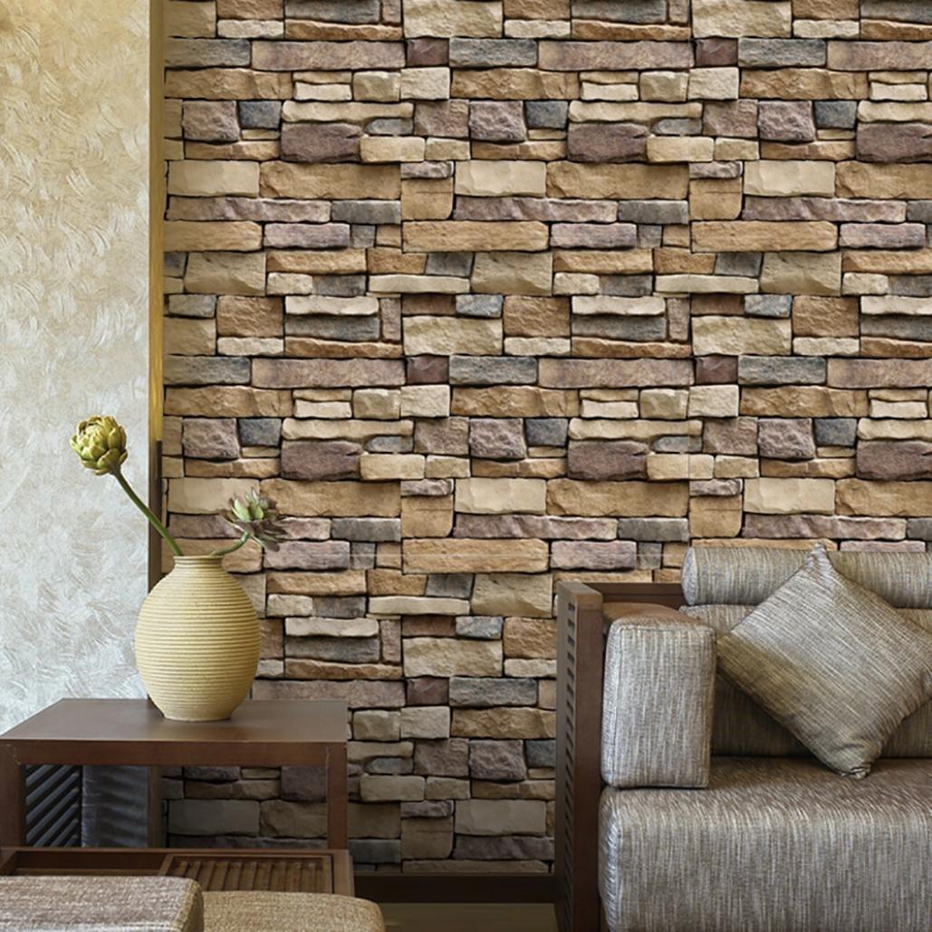 stickers muraux , 3D imperméable à l'eau de papier de mur de briques en pierre rustique effet autocollant mural amovible à la maison décor,45 * 100cm (Multicolor) (A) moonuy