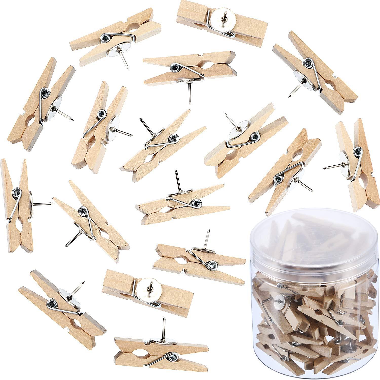 Hestya Push Pins with Wooden Clips Pushpins Tacks Thumbtacks for Cork Boards Artworks Notes Photos and Craft Projects (100)