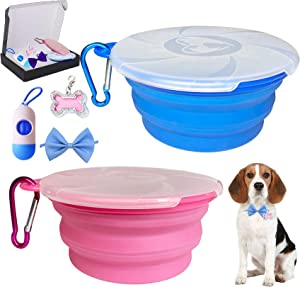 Collapsible Dog Bowl for Travel, 2 Pack Cat Food Bowls Small Dog Water Silicone Bowls with Lids & Dog Poop Bag with Dispenser & Mini Pet ID Tags,Collapsable Portable Bowl Set,15oz,450ML (Blue+Pink)