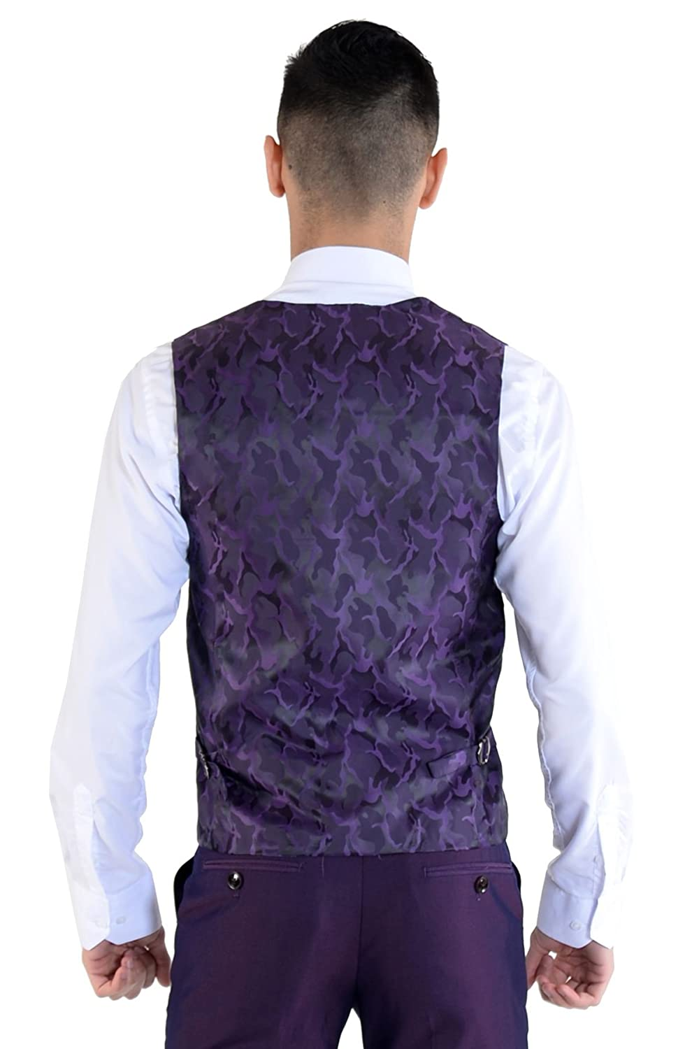 f4f2695f64b Marc Darcy Mens 3 Piece Slim Fit Purple Pindot Notch Lapel Casual Business  Wedding Suit Formal Blazer Waistcoat and Trousers 34-52 Available   Amazon.co.uk  ...