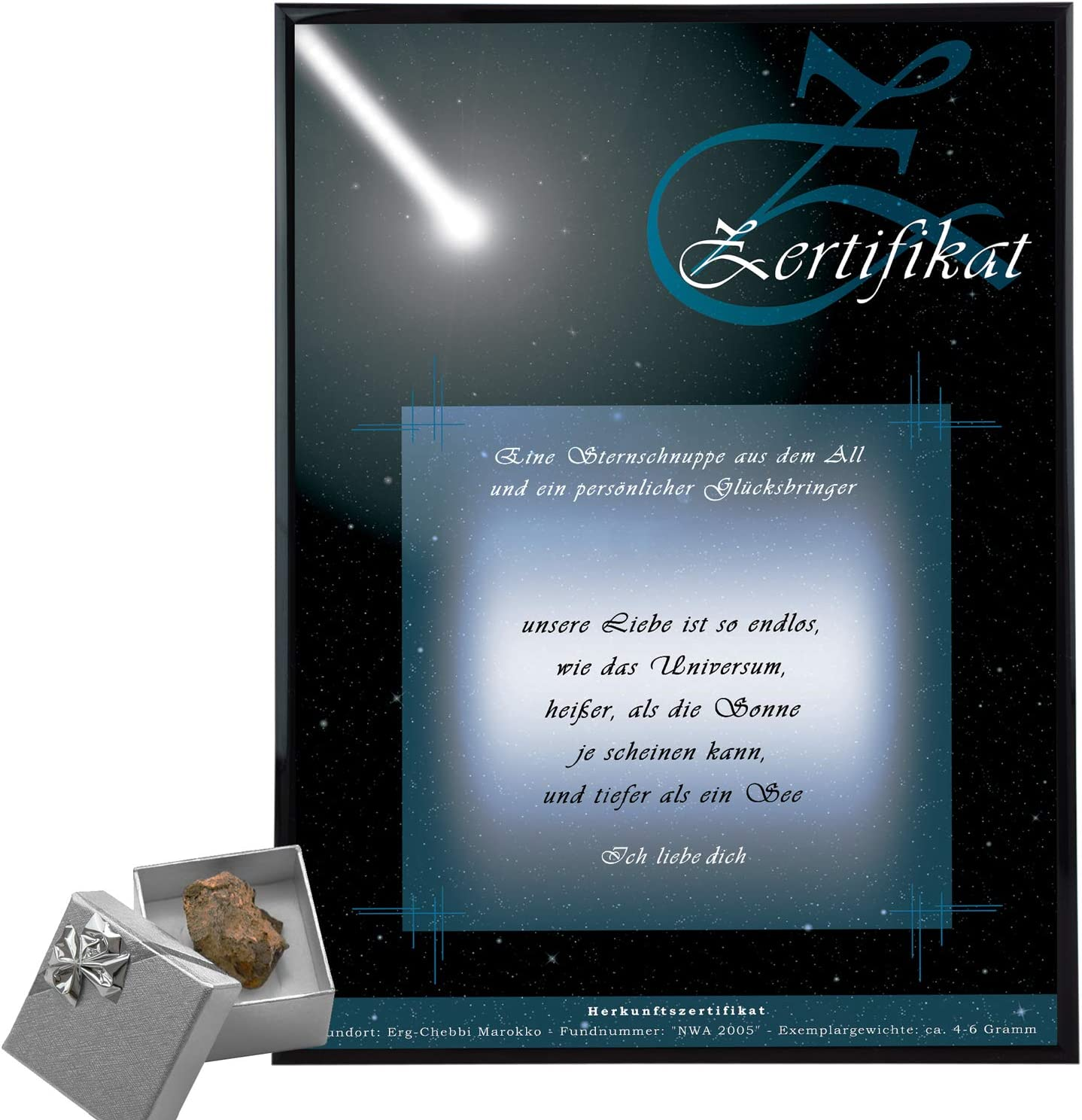 Comprar estrella fugaz – Meteoritas con certificado de autenticidad personalizado aquí como regalo romántico pedido – Regalo personal para mujeres + hombres – Idea de regalo amigo + novia