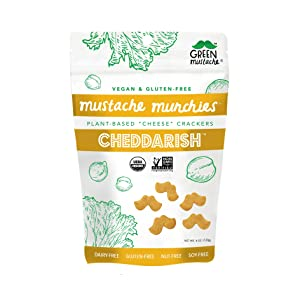Mustache Munchies Organic Baked CHEDDARISH Crackers | Vegan, Gluten Free, Plant-Based Cheese Snack | 4 ounce, 3 count