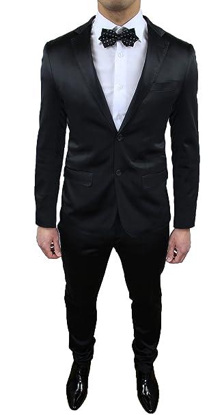 Vestito Matrimonio Uomo Nero : Abito uomo elegante raso nero lucido sartoriale completo vestito