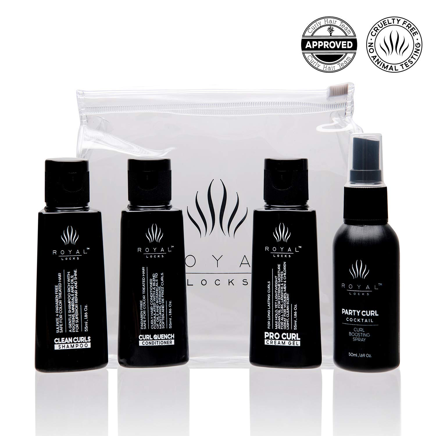 Curly Hair Products Travel Trial Size - Cream Gel Shampoo Conditioner and Spray Argan Oil - Sulfate Paraben Free - Refillable - Reusable Case - TSA Approved Sizes by Royal Locks