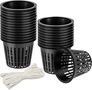 OAK LEAF 25-Pack 3 Inch Hydroponic Cups Net Pots Cups with Self-Watering Capillary Water Wick (10m 32.8ft) for Hydroponics, Slotted Mesh, Black