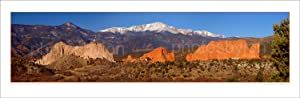 Pike's Peak and Garden of the Gods 12 inches x36 inches Colorado Mountain Landscape Photographic Print Panorama Poster Photo Picture Standard Size
