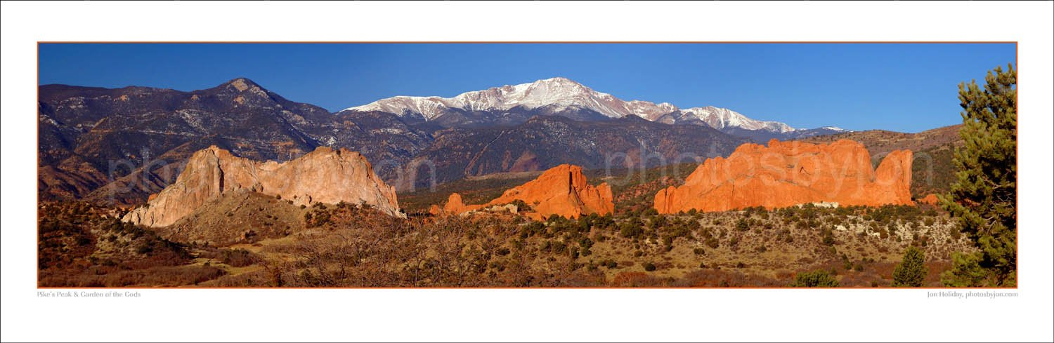 Pikes Peak and Garden of the Gods 12 inches x36 inches Colorado Mountain Landscape Photographic Print Panorama Poster Photo Picture Standard Size
