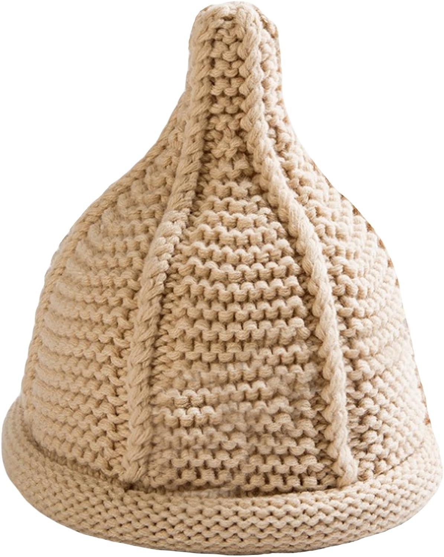 (ジュエシャンジ) Jueshanzj 男女兼用 子供の冬帽子 無地 暖かい とんがり キッズのニット帽子 12色可選
