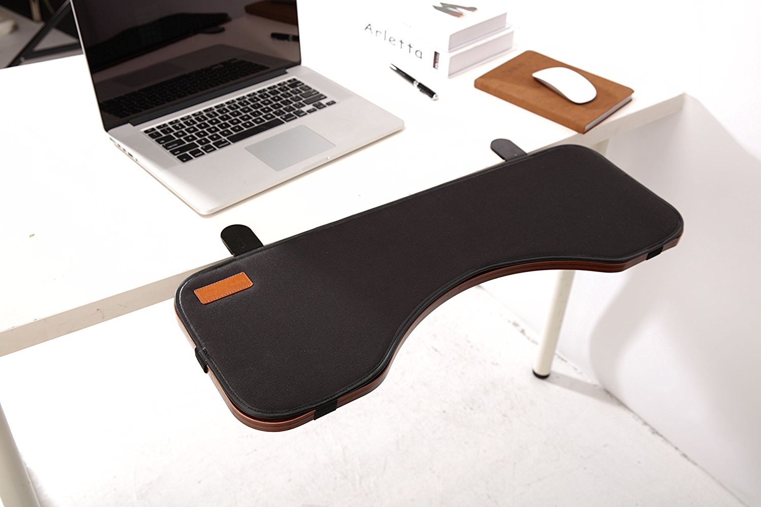 FUZADEL Elbow Wrist Support Desk Wrist Support Keyboard Tray Under Desk Adjustable Chair Mount Keyboard and Mouse Tray Fold Down Dable Extender by FUZADEL
