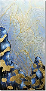 Yotree Paintings, 24x48 Inch Paintings Golden Flower Leaf Pulsation Oil Hand Painting 3D Hand-Painted On Canvas Abstract Artwork Art Wood Inside Framed Hanging Wall Decoration Abstract Painting