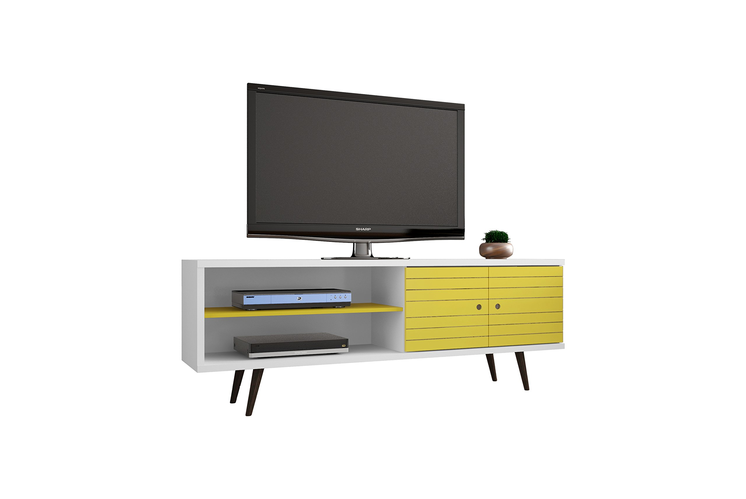 Manhattan Comfort Liberty Collection Mid Century Modern TV Stand With One Cabinet and Two Open Shelves With Splayed Legs, Wood/Yellow by Manhattan Comfort