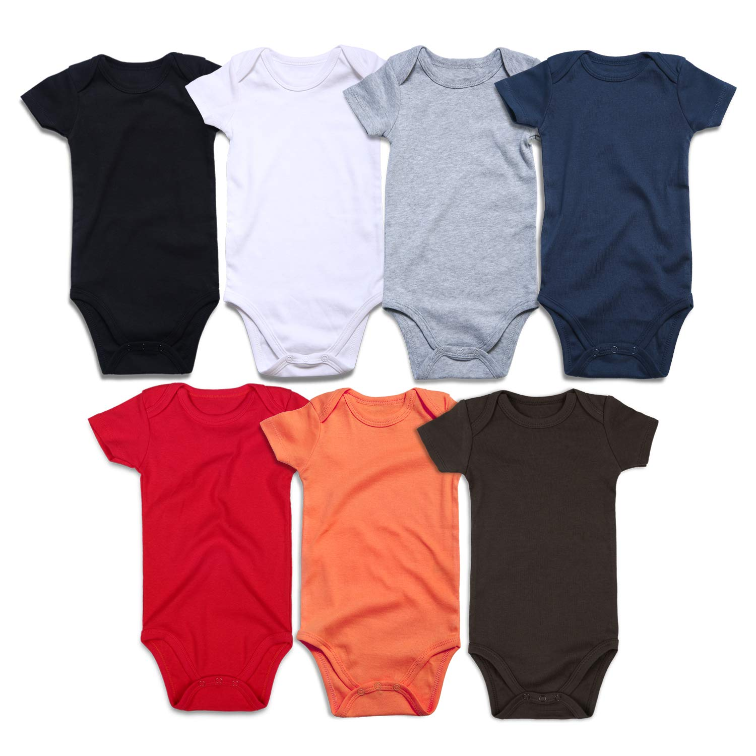 433154770 Amazon.com: ROMPERINBOX Unisex Solid Multicolor Baby Bodysuits 0-24 Months:  Clothing