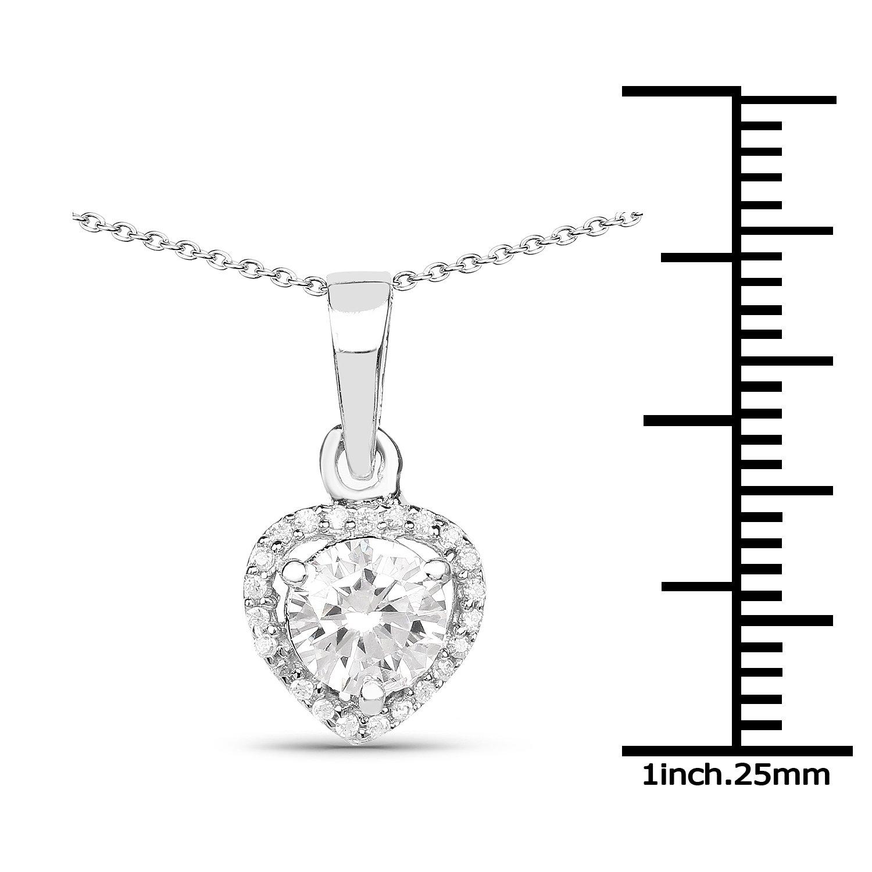 1.52 Carat Genuine White Cubic Zirconia .925 Sterling Silver Pendant