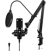 JEEMAK Professional Condenser Microphone Set with Adjustable Mic Arm Stand Shock Mount