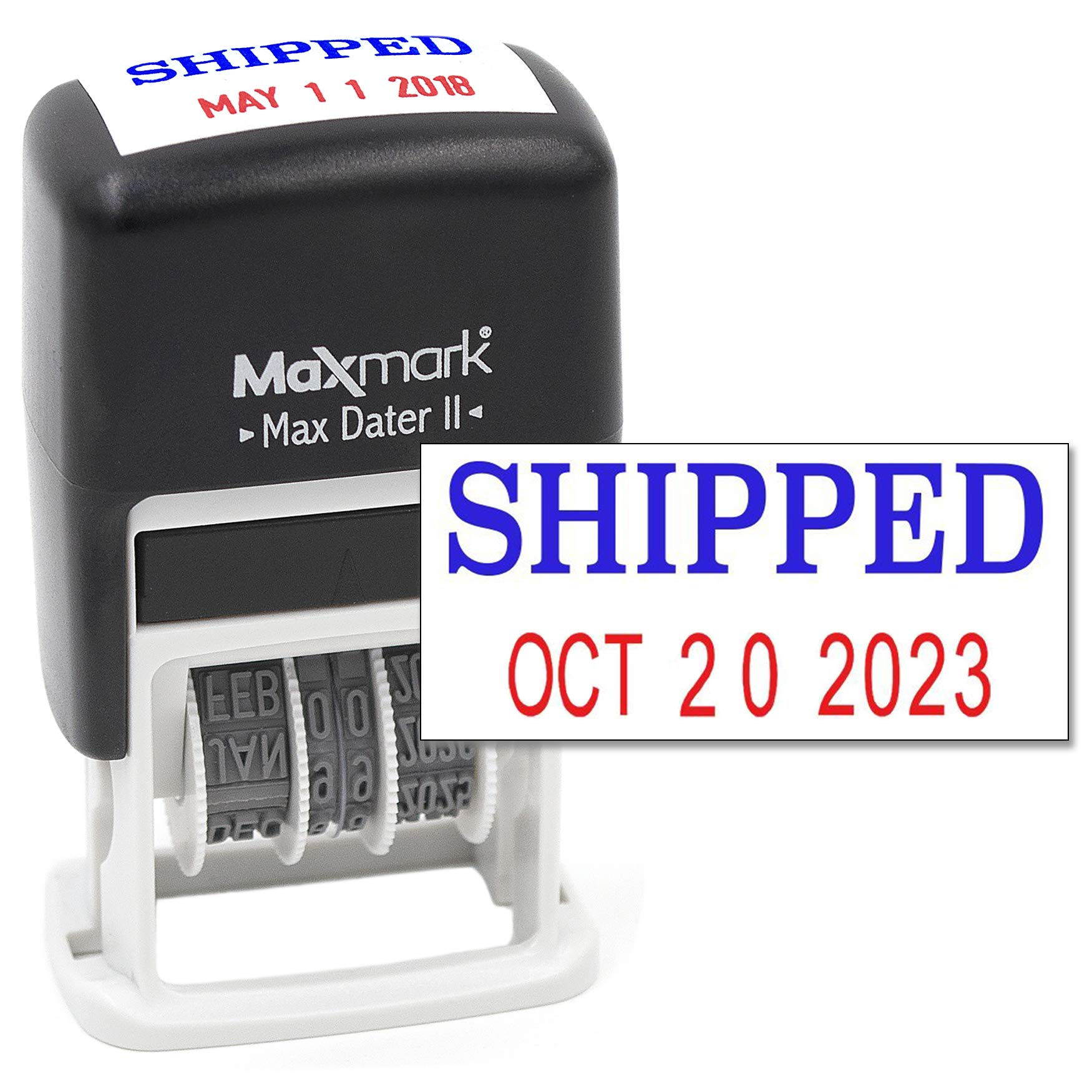 MaxMark Self-Inking Rubber Date Office Stamp with SHIPPED Phrase BLUE INK & Date RED INK (Max Dater II), 12-Year Band