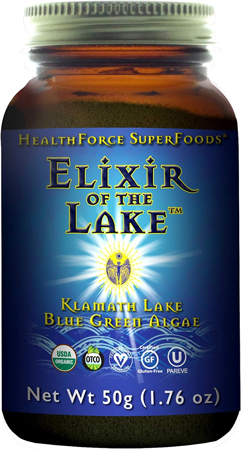 HealthForce SuperFoods Elixer of The Lake Powder – 50 Grams – Klamath Lake Blue Green Algae Supplement, Supports Endorphin Production Mood – Organic, Vegan, Gluten Free – 25 Servings