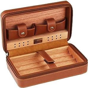 Exquisit Humidor, Portable Cedar Wood Humidor Travel Leather Humidor Storage 4 Humidor Humidor Humidor (Color : Black)