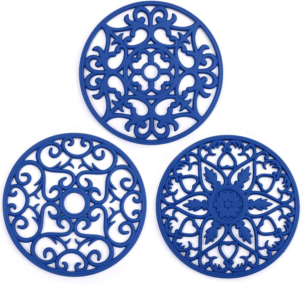 ME.FAN 3 Set Silicone Multi-Use Intricately Carved Trivet Mat - Insulated Flexible Durable Non Slip Coasters (Deep Blue)
