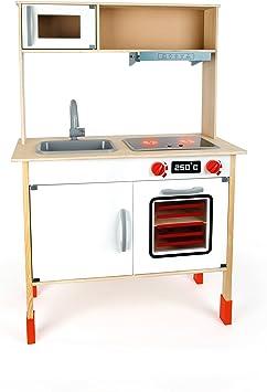 Small Foot 10749 - Cocina de Madera con Gran Capacidad de Almacenamiento, Incluye Lavabo, Horno, microondas, Horno y cocinas, con Botones giratorios y Campana extractora: Amazon.es: Juguetes y juegos