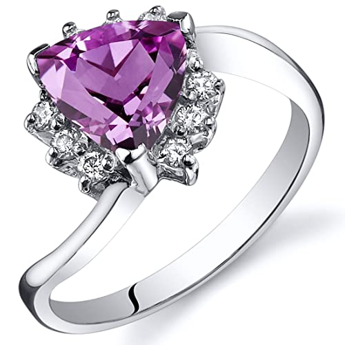 Created Pink Sapphire Bypass Ring Sterling Silver Rhodium Nickel Finish 1.75 Carats Sizes 5 to 9