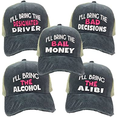 I ll Bring The Alcohol Bad Decisions Hat Set Men or Women s Trucker Hat  Funny Baseball Cap (Gray Khaki Hat - Pink) at Amazon Women s Clothing store  ae18c346dd9