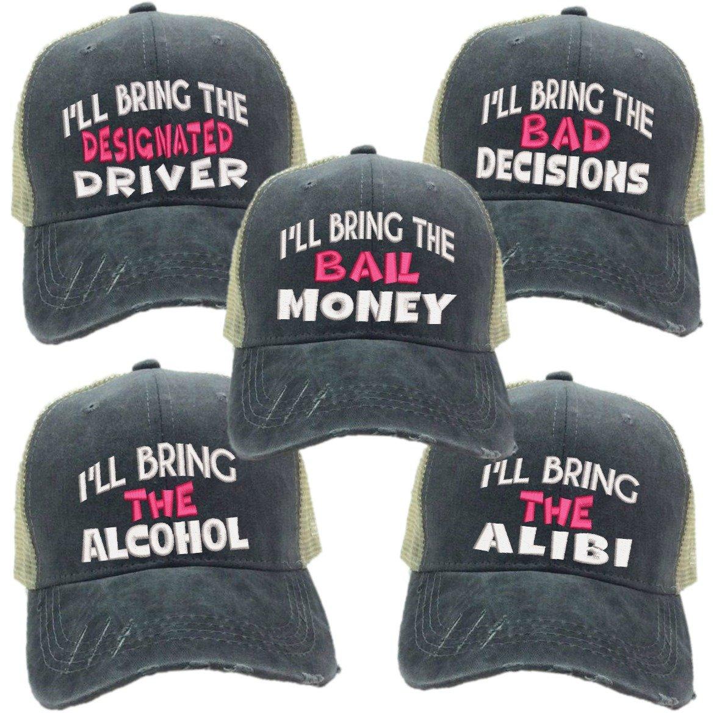 I'll Bring The Alcohol Bad Decisions Hat Set Men or Women's Trucker Hat Funny Baseball Cap (Gray/Khaki Hat - Pink)