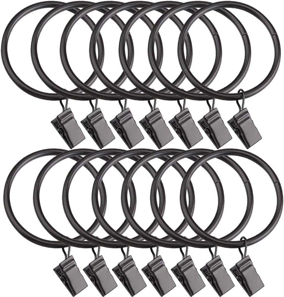 Curtain Rings with Clips-Set of 14 Decorative Drapery Rings.Interior Diameter 1.96