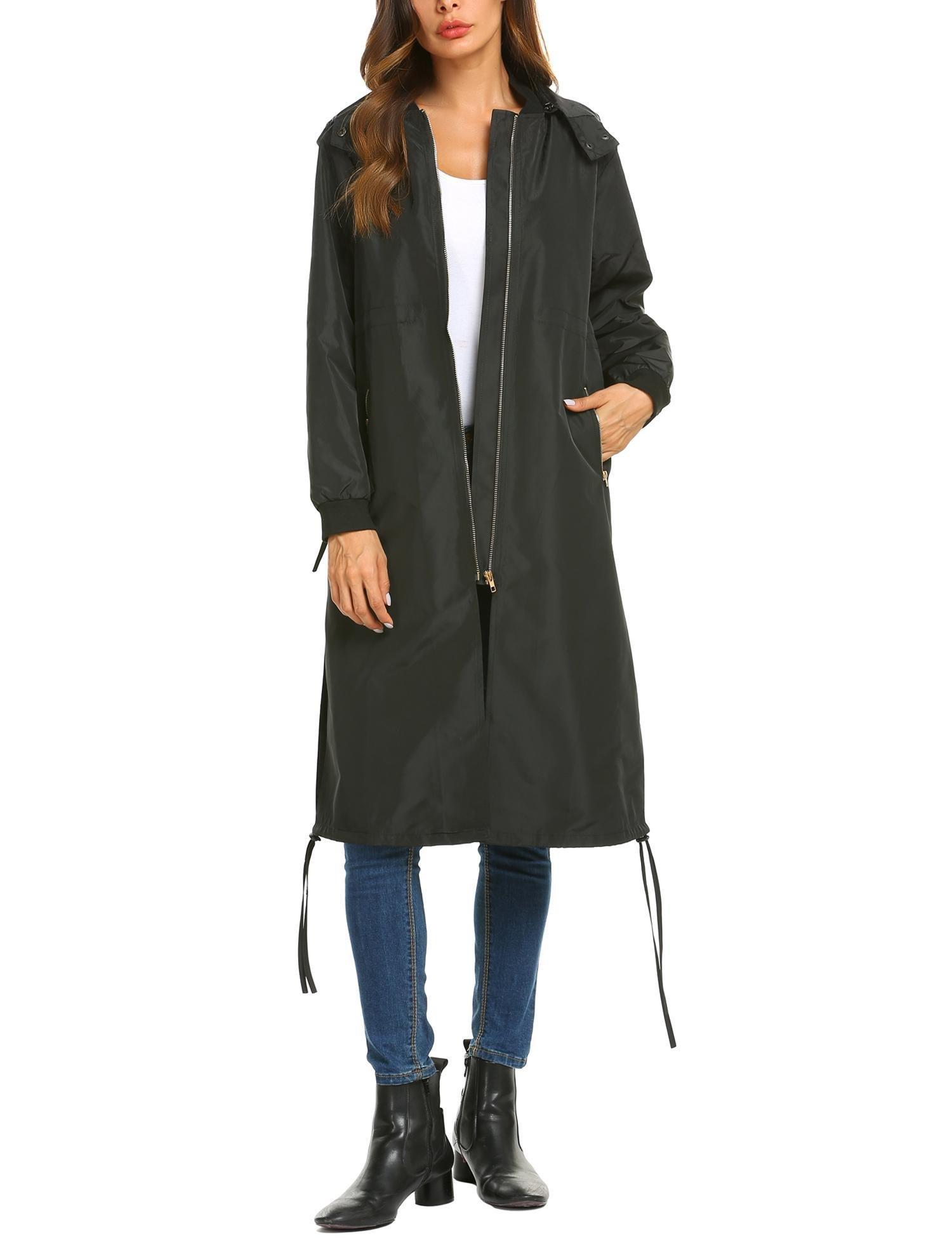 SUNAELIA Women's Long Zipper Pocket Lightweight Coat Outwear Trench Coat Black L