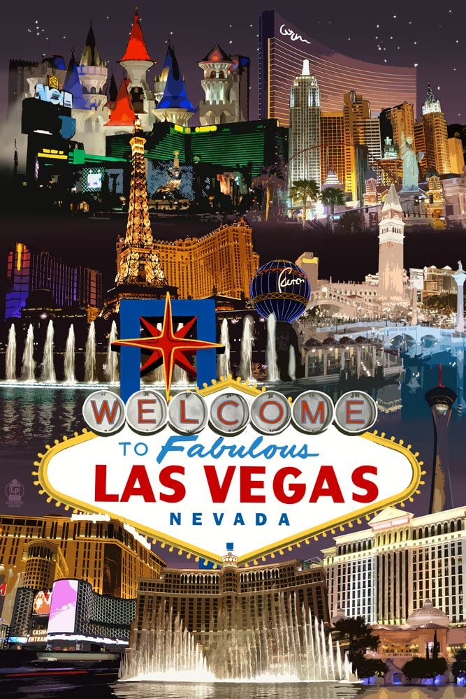 World Famous Las Vegas Nevada sign lit up at night poster 24 x 36/""