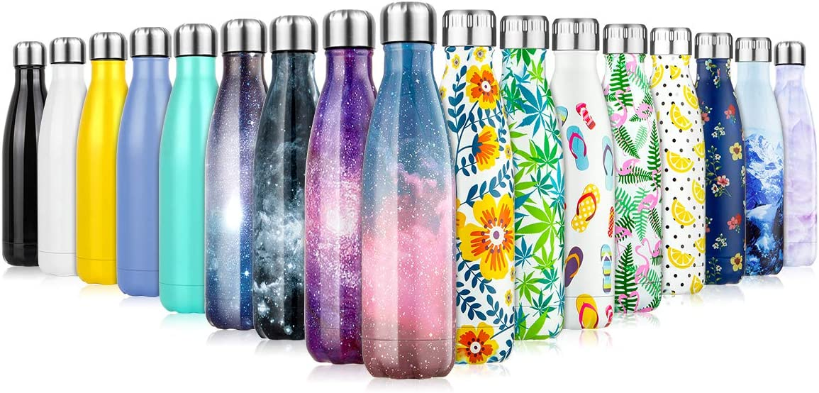 Edelstahl Trinkflasche Thermosflasche - 350/500/750ml, Doppelwandige Auslaufsichere Isolierte Wasserflasche, BPA-Frei,Vakuum Isolierflasche für Kinder, Laufen, Radfahren, Camping, Arbeiten
