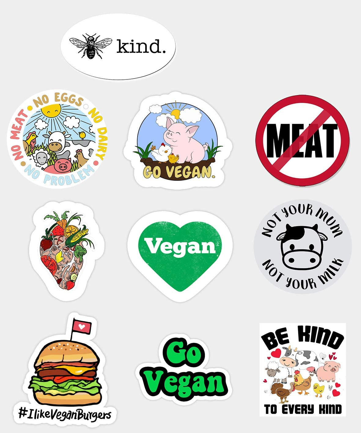 Vinyl Sticker Waterproof Decal 10 Pcs GTOTd Sticker for Go Vegan Be Happy