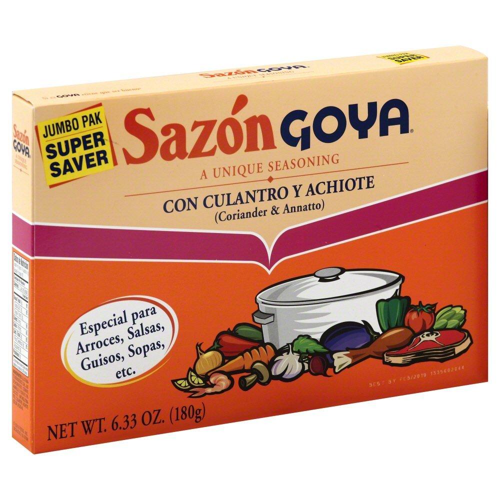 Goya Sazon Culantro/Achiote Jumbo 6.3 OZ(Pack of 12)