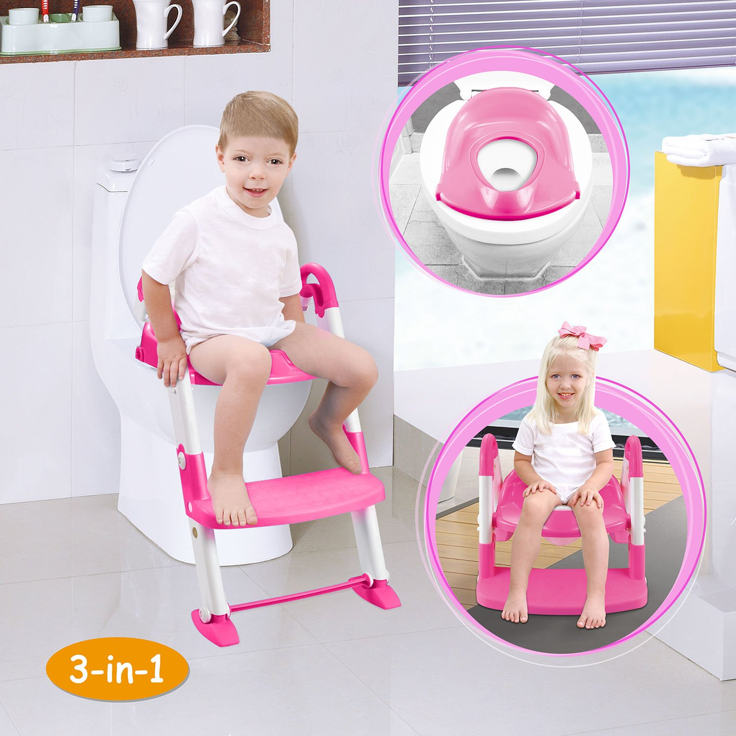 GPCT [Portable] 3-in-1 Kids Toddlers Potty Training Seat W/Step Stool. Sturdy, Comfortable, Safe, Built in Non-Slip Steps W/Anti-Slip Pads. Excellent Potty Seat Step Trainer- Boys/Girls/Baby- Pink