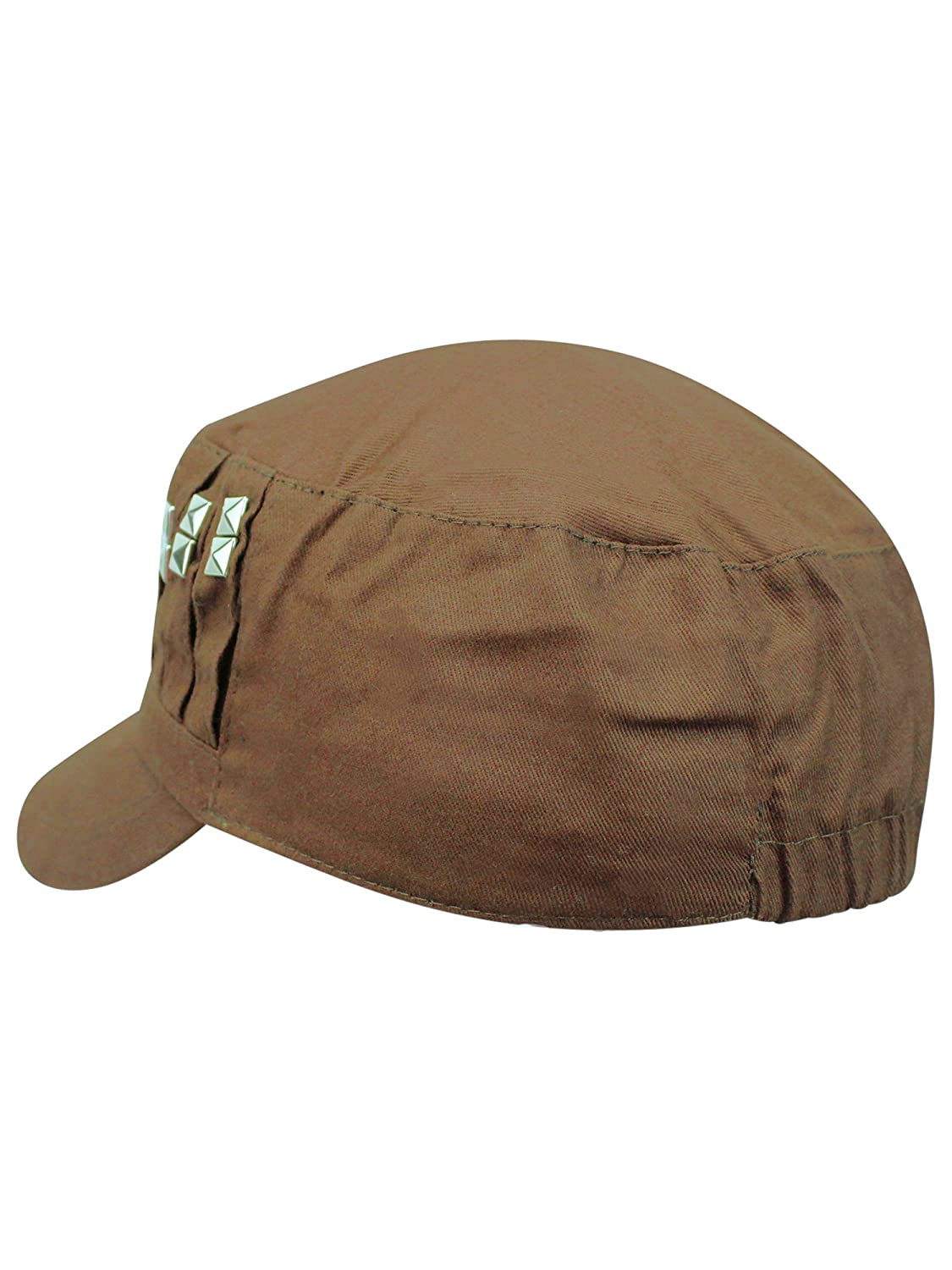 fa42581eff56 Luxury Divas Brown Cadet Style Hat with Studded Front at Amazon Women's  Clothing store: Baseball Caps