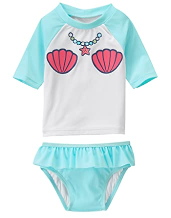 589c274c2870 Amazon.com  Gymboree Baby Girls  Toddler Mermaid Rashguard Swim Set ...