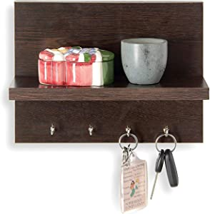 WILLART Wall Hanging Key Hook with Shelf for Home Decor Handcrafted Wooden Design Key Holder and Key Hangers with Floating Shelves Organizer