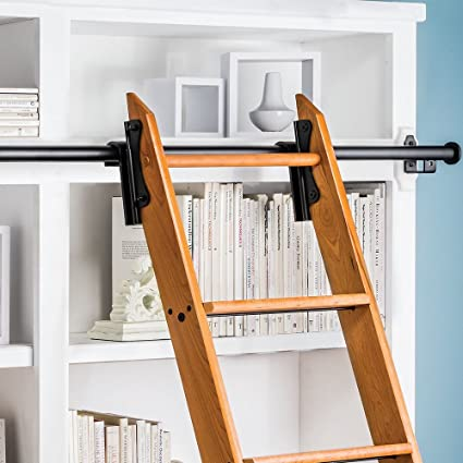 Rockler Classic Rolling Library Ladder Kit 8H With 12 Track Satin