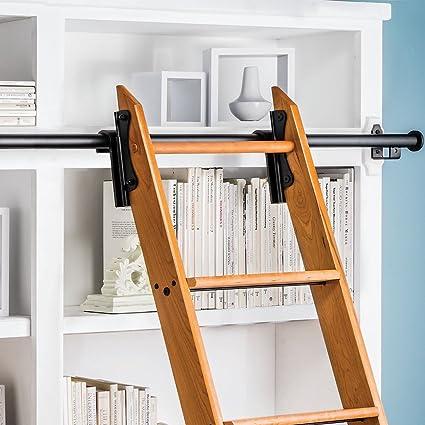 Rockler Classic Rolling Library Ladder Kit, 8u0027H With 12u0027 Track, Satin