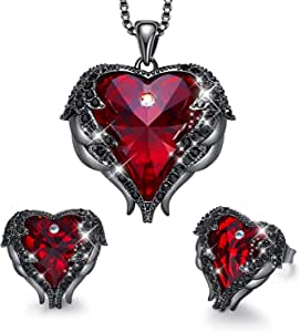 CDE White-Gold-Plated-Base Heart-Shape Round-Shape Purple Blue Yellow NA D_Gun Black Plated | Red