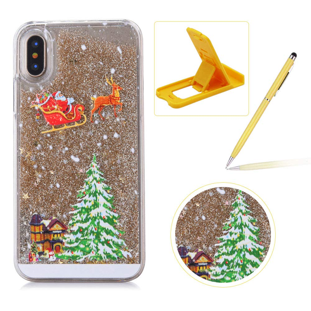 Liquid Case for iPhone XS Max, Clear Hard Cover for iPhone XS Max, Herzzer Stylish Luxury 3D Colorful Glitters Flowing Stars Quicksand Bling Case with Carriage Christmas Tree Santa Claus Pattern iPhone XS Max 6.5