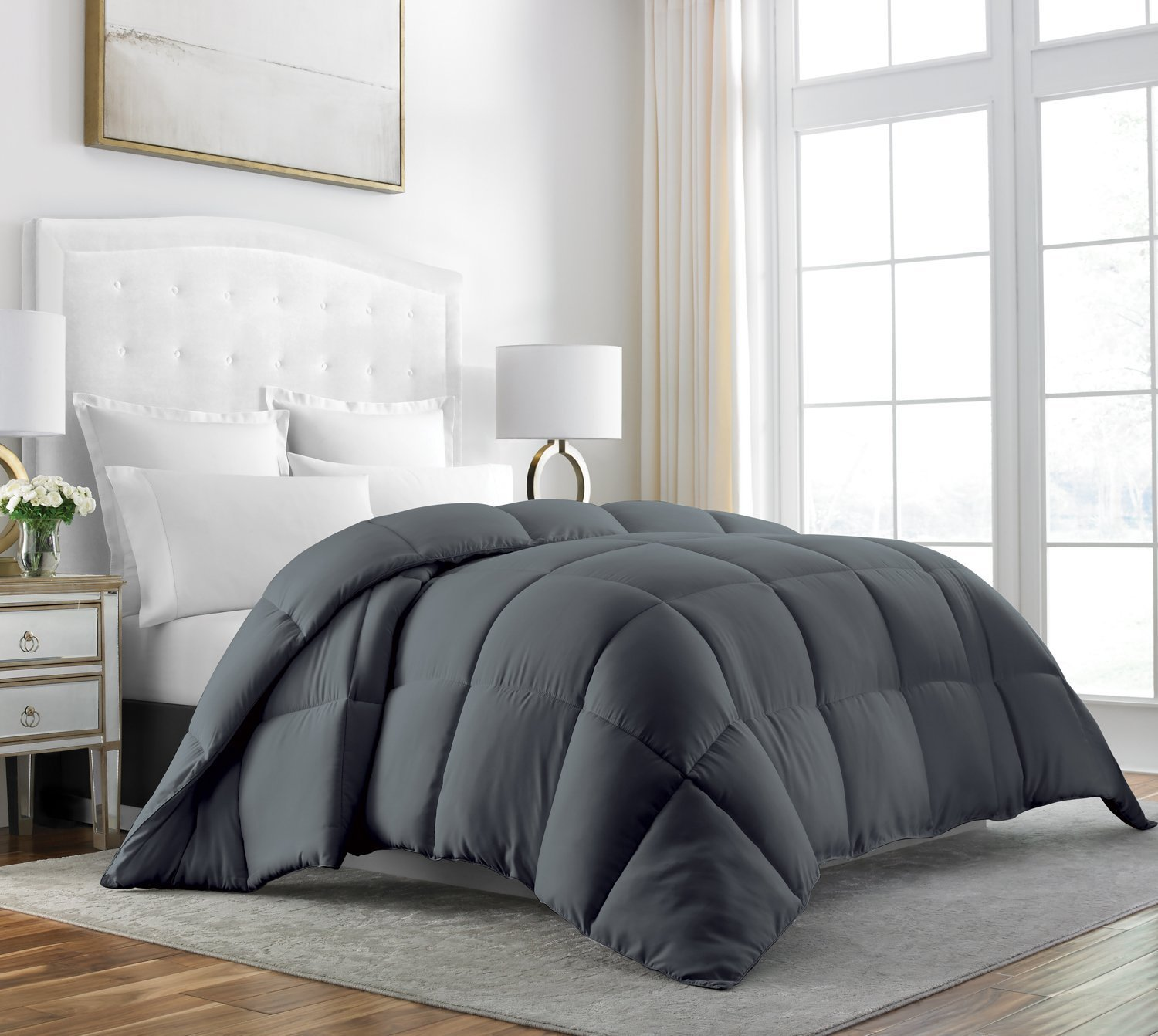 Beckham Hotel Collection Luxury 100% Egyptian Cotton Down Comforter - 70 oz Fill Weight, & 750 Fill Power - All Season Premium & Hypoallergenic Duvet Insert - Full/Queen - Gray