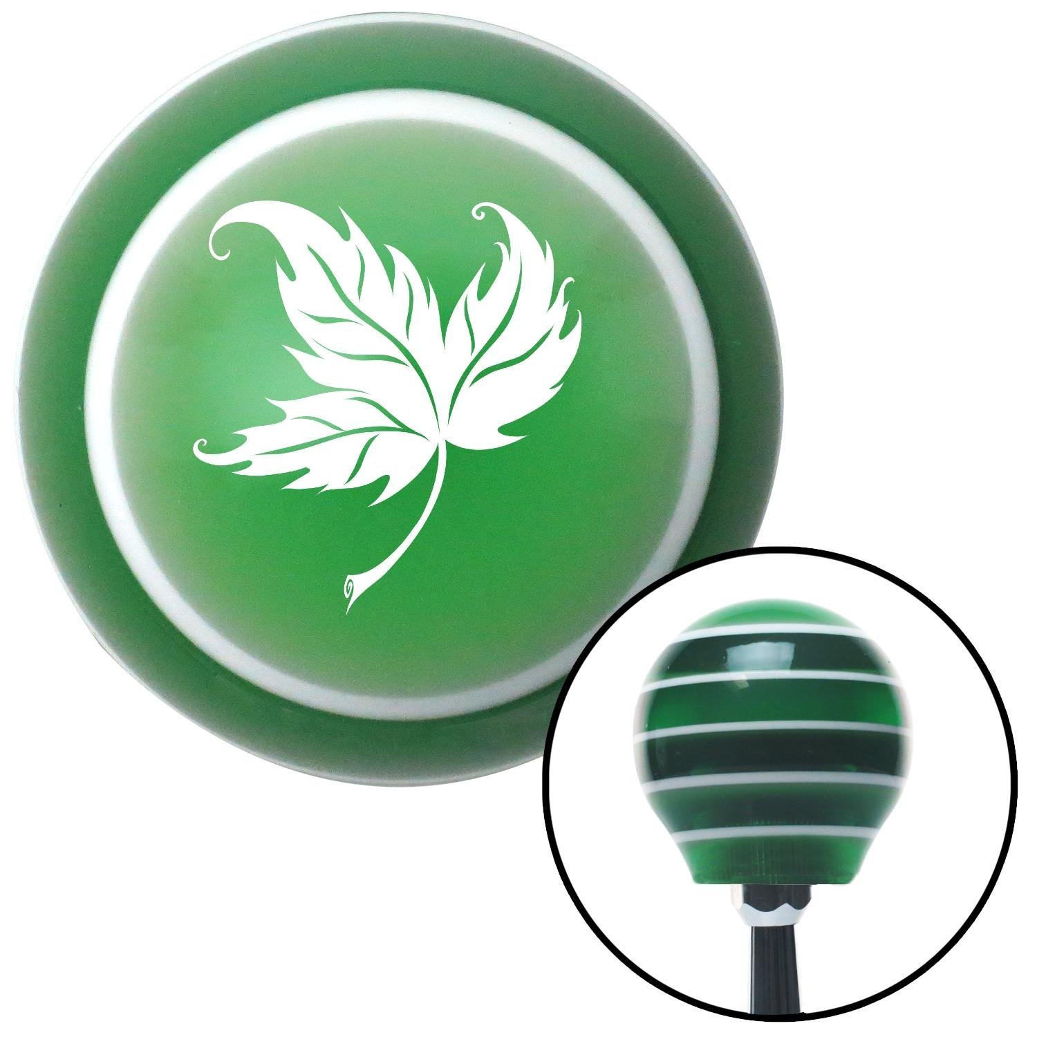 American Shifter 125682 Green Stripe Shift Knob with M16 x 1.5 Insert White Falling Leaf