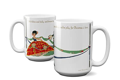 dancing couple with ribbon and holly christmas coffee mug - Christmas Coffee Cups