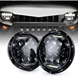 "Xprite(DOT Approved)7"" Inch LED Headlights for Jeep Wrangler JK TJ LJ 1997 - 2017, 75W 9000Lumens Hi/Lo Beam with Halo Ring Angel Eyes DRL"