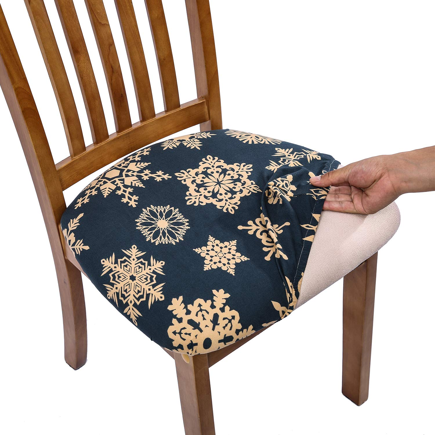 Remarkable Comqualife Stretch Printed Dining Chair Seat Covers Removable Washable Anti Dust Upholstered Chair Seat Cover For Dining Room Kitchen Office Set Alphanode Cool Chair Designs And Ideas Alphanodeonline