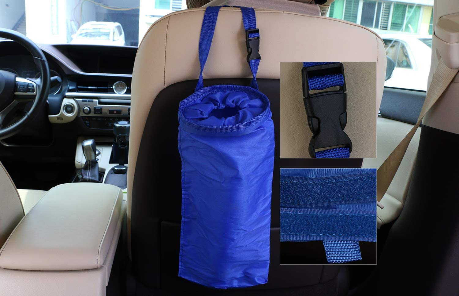 Mini Skater 2 Pcs Car Trash Bags Black Blue Reusable Portable Washable Small Adjustable Leakproof Eco-Friendly Seat Back Hanging Litter Garbage Bag for Outdoor Traveling Home Use